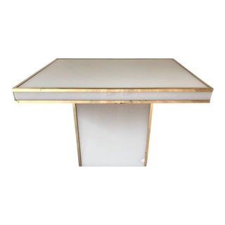 Rougier White Glass & Brass Table