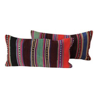 Striped Turkish Kilim Cushions - Pair