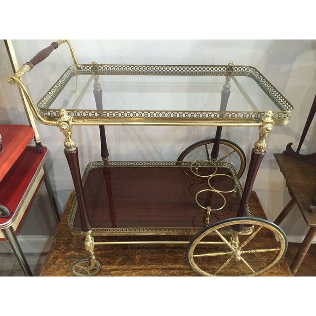1880s French Brass Bar Cart - Image 5 of 5