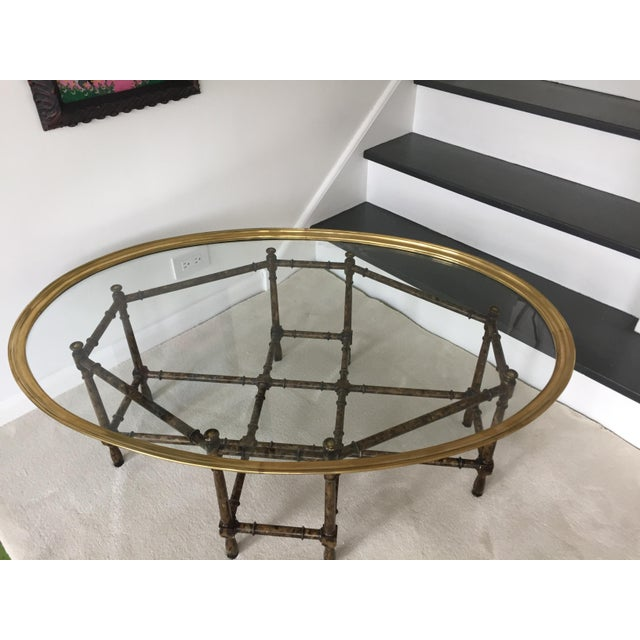 Brass Faux Bamboo Coffee Table: Mastercraft Mid-Century Faux Bamboo & Brass Coffee Table