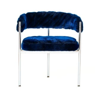 Chrome Base Chair With Blue Faux-Fur Upholstery