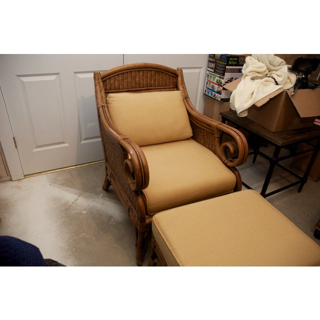 Rattan Wicker Chair & Ottoman W/ Upholstered Seat - Image 2 of 9