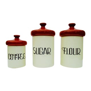 Retro Danish Modern Tulip Storage Canisters Canister Set - S/3