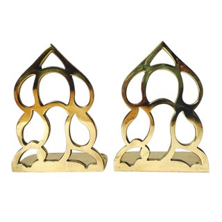 Vintage Sculpted Brass Bookends - A PAIR