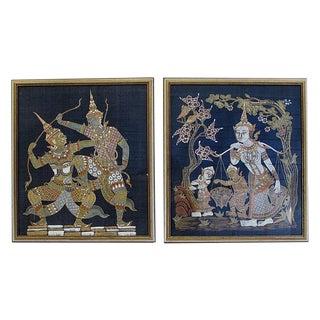 Thailand Silk Fabric Character Wall Art - A Pair