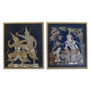 Thailand Silk Fabric Character Wall Art - A Pair