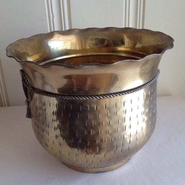 Vintage Etched Metal Brass Vessel - Image 6 of 9