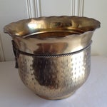 Image of Vintage Etched Metal Brass Vessel