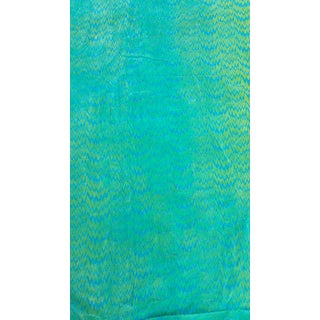 Turquoise/green Ikat Cotton Velvet