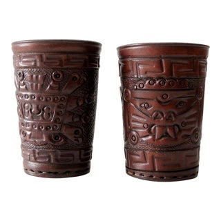 Vintage Mexican Leather Cup Holders - Pair
