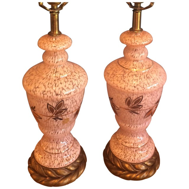 Mid-Century Pink Glass Lamps - a Pair - Image 1 of 8