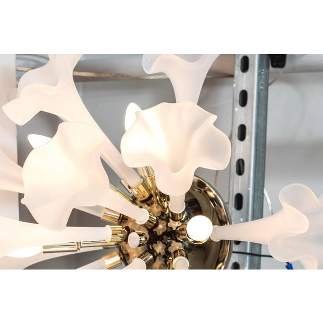 Handblown Flush Mount Murano Chandelier in Brass with Frosted Glass Flowers - Image 7 of 9