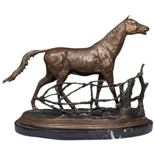 Statue of a Patinated Bronze Model of a Horse on Marble Base