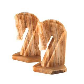 Onyx Trojan Bookends - A Pair