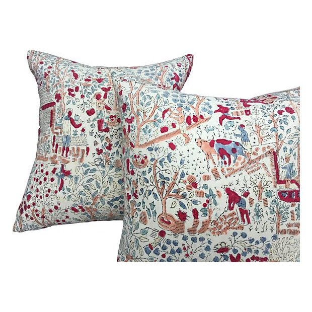 Bohemian 1970's Hand-Blocked Pillows - A Pair - Image 4 of 5