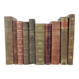 Scandinavian Leather Bound Books - S/10