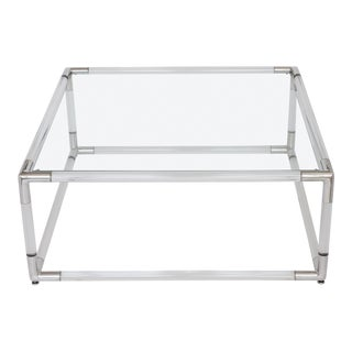 Lucite & Aluminum Square Coffee Table