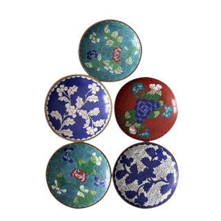 Antique Chinese Cloisonne Plates - Set of 5