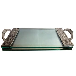 Seagull Pewter Glass Cheese Tray with Grape Motif