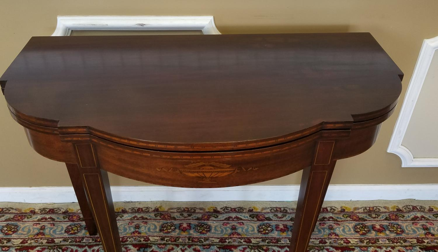 mahogany sheraton style paine furniture flip top console hallway table c1940s image 6 of 11