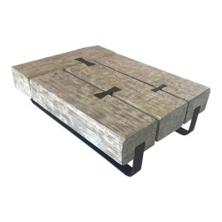 Reclaimed Beam Coffee Table with Iron Base