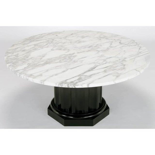 White Carrara Marble Coffee Table with Ebonized Fluted Wood Base - Image 2 of 7