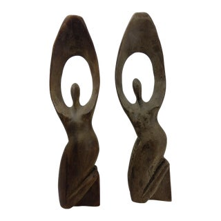 Primitive African Wood Carved Sculptures - Pair