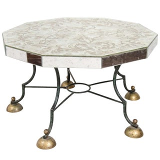 ART DECO MIRRORED COFFEE TABLE WITH LEAF MOTIF ATTRIBUTED TO GILBERT POILLERAT