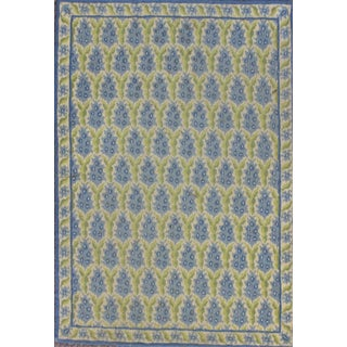 Green & Blue Pinecone Needlepoint Rug