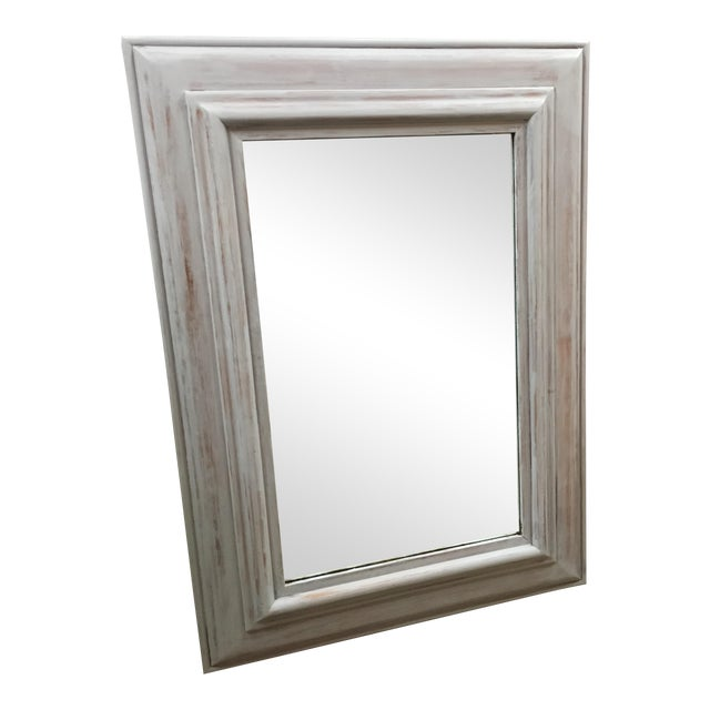 rectangular light gray wash wooden framed mirror - Wood Framed Mirror