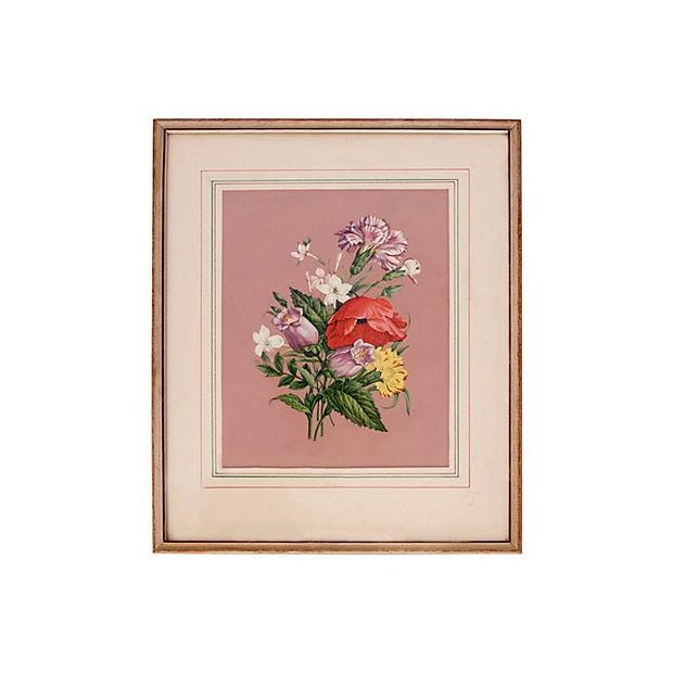 Vintage 1940s Pink Floral Bouquet Botanicals - Pair - Image 3 of 5