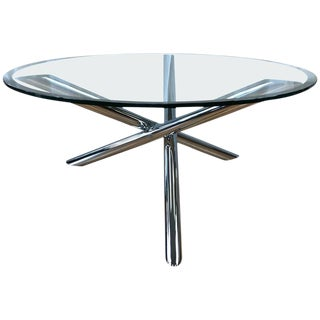Vintage Chrome Star Base Round Glass Coffee Table