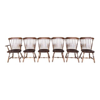 Vintage Haywood Wakefield Country Maple & Pine Dining Chairs - Set of 6