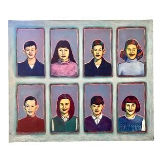 "Greg Favors ""Sixth Grade Portraits"" Acrylic on Canvas Painting"