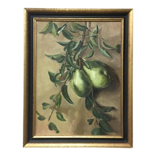 Vintage Still-Life Pear Oil Painting