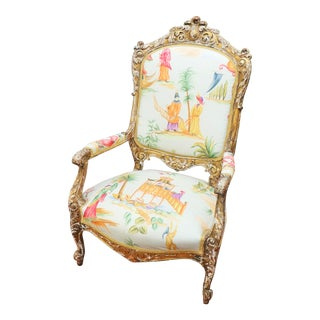 Italian Renaissance Chinoiserie Style Bergere Chair