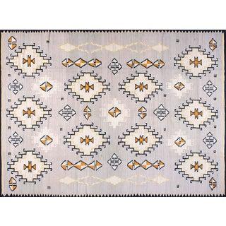 Gray Navajo Style Wool Rug - 9′ × 12′