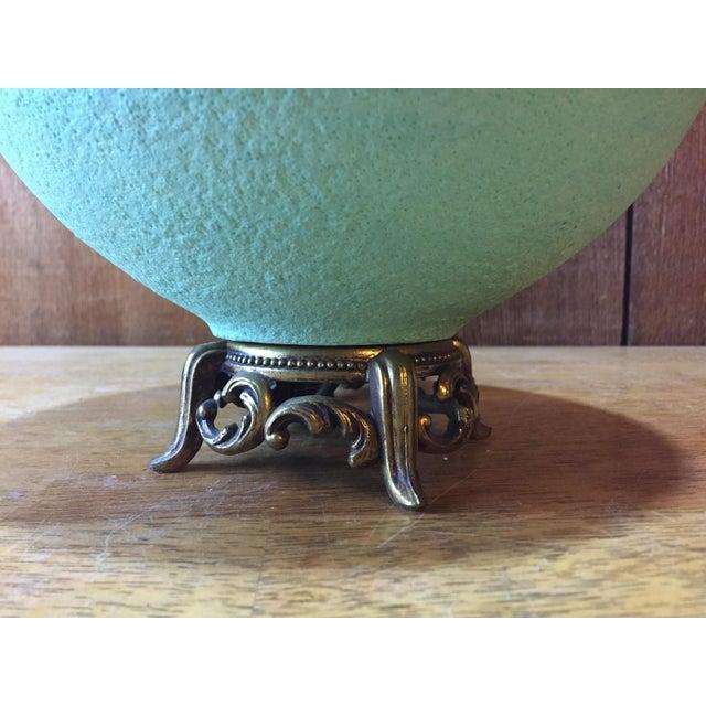 Mid-Century Modern Drip Glaze Green Lamp - Image 5 of 7