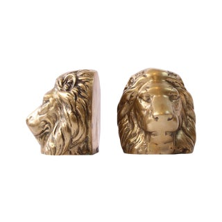 Solid Brass Lion Head Bookends - A Pair