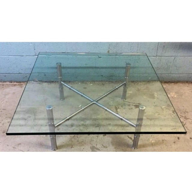 Chrome Faux Bamboo Coffee Table - Image 4 of 6