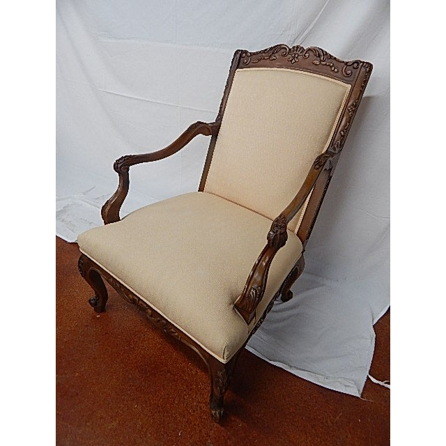A Pair of Baker Furniture French Style Carved Arm Chairs - Image 6 of 7