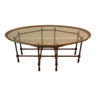 Vintage Faux Bamboo Tray Top Coffee Table