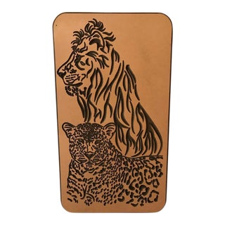 Contemporary Engraved Wall Decor of a Lion and Leopard