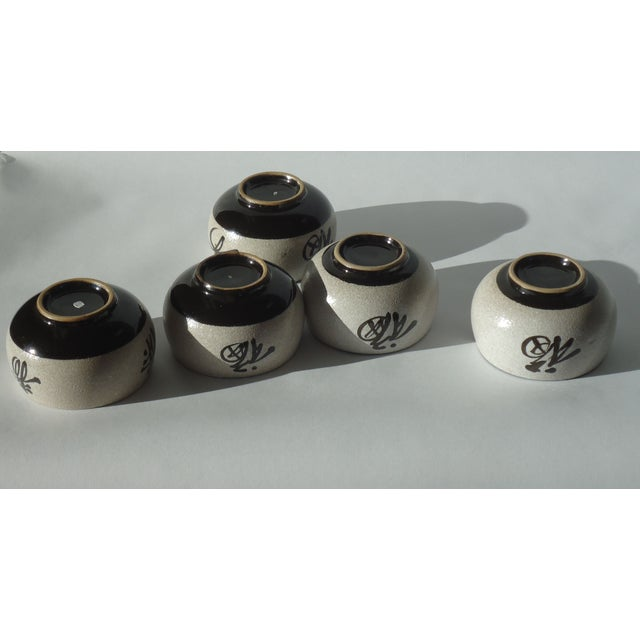 Japanese Calligraphy Pottery Cups Set Of 5 Chairish