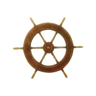 Large Wooden Ship's Wheel Decor