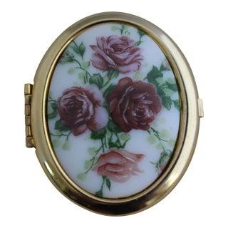 Vintage Rose Porcelain Oval Trinket Box