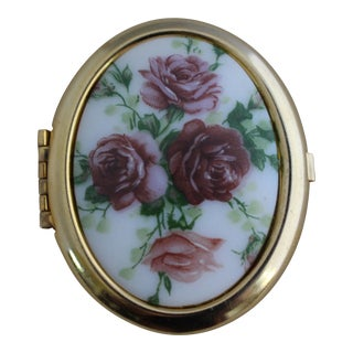 Vintage Rose Porcelain Oval Trinket Box