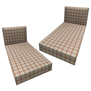 Plaid Upholstered Twin Beds - A Pair