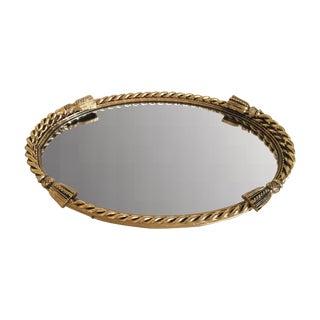 Antique Victorian Nautical Brass Mirrored Tray