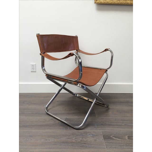 Italian Chrome Leather Folding Chair By Arrben Chairish